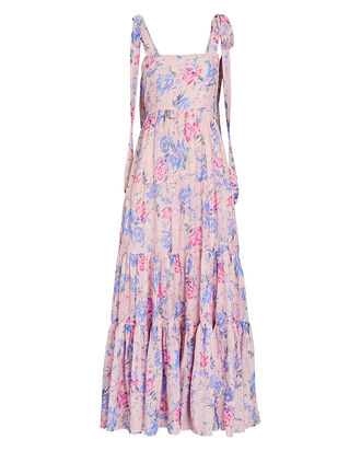 Burrows Floral Silk-Cotton Midi Dress, MULTI, hi-res