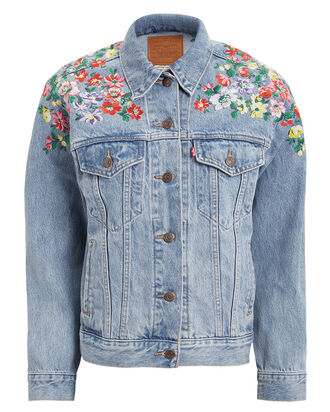 Embroidered Ex-Boyfriend Trucker Jacket, MEDIUM BLUE DENIM, hi-res