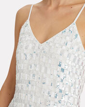 Cary Sequined Check Slip Dress, WHITE, hi-res