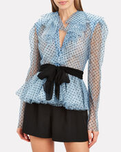 Frilled Polka Dot Lace Blouse, LIGHT BLUE/POLKA DOT, hi-res