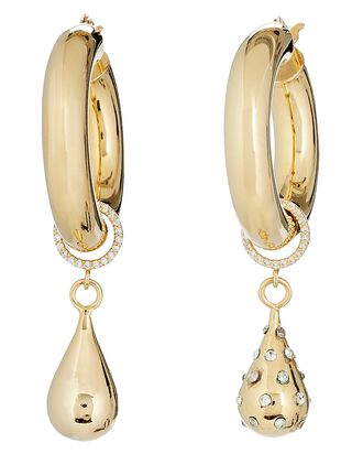 Flow Teardrop Hoop Earrings, GOLD, hi-res