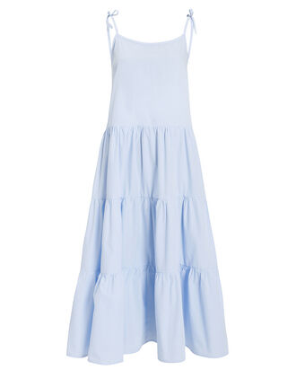 Tiered Poplin Dress, PERIWINKLE, hi-res