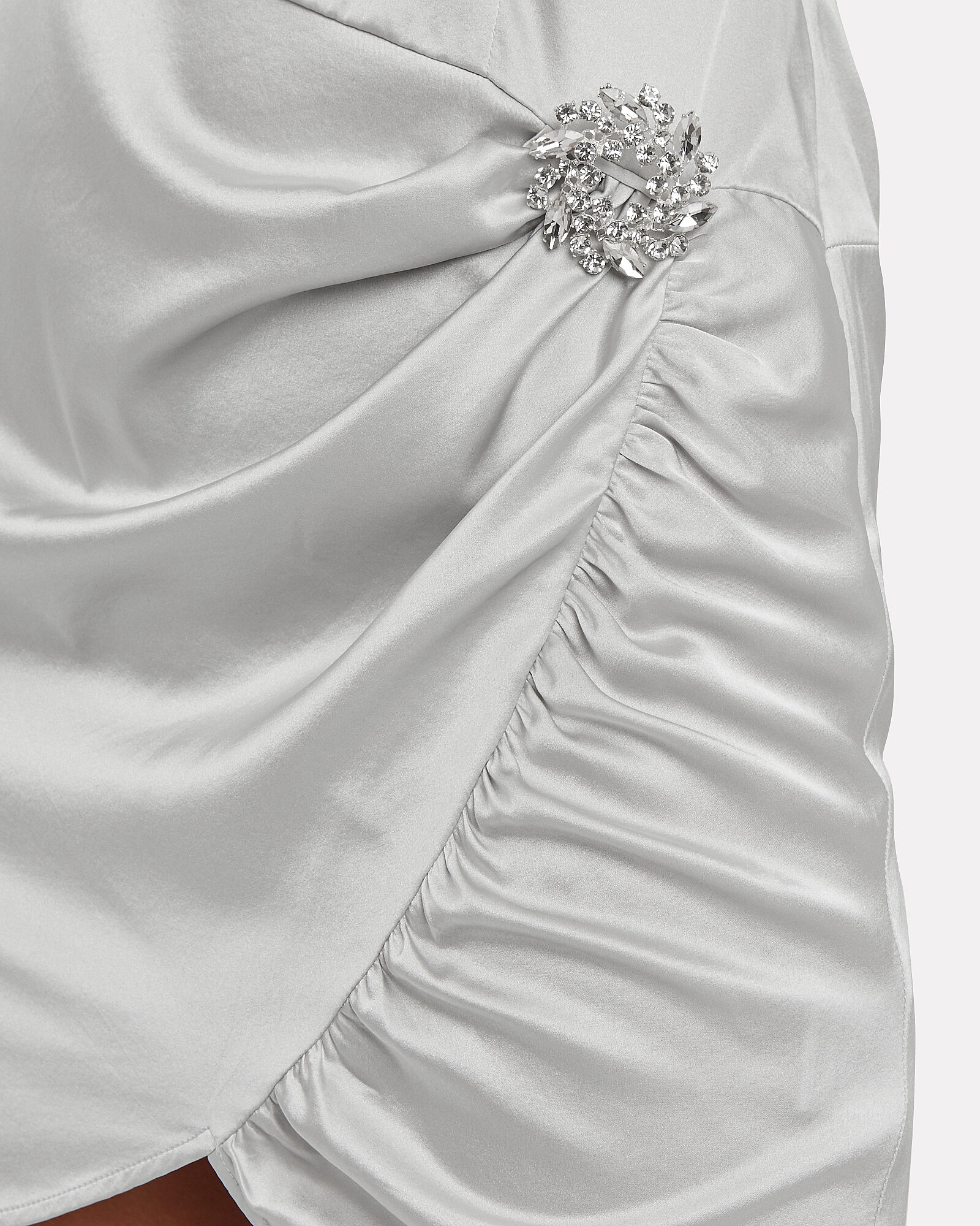 Drisana Satin One Sleeve Dress, SILVER, hi-res