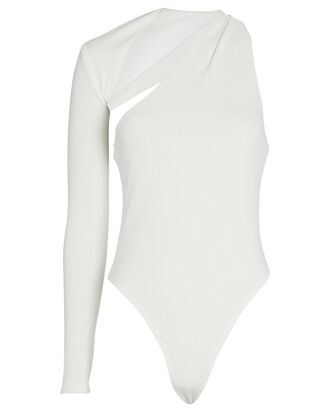 Seasons Change One-Shoulder Bodysuit, WHITE, hi-res