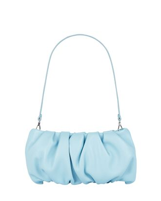 Bean Ruched Leather Bag, LIGHT BLUE, hi-res