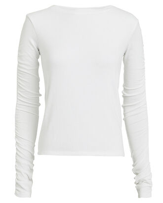 Clement Ruched Sleeve Crewneck Top, WHITE, hi-res