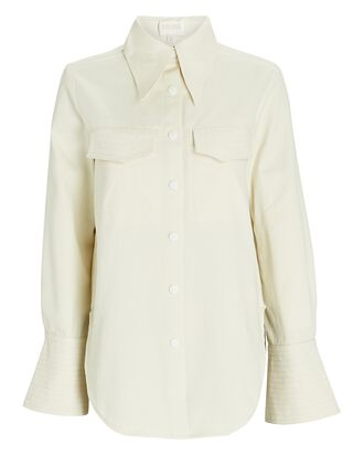 Oversized Denim Button-Down Shirt, IVORY, hi-res