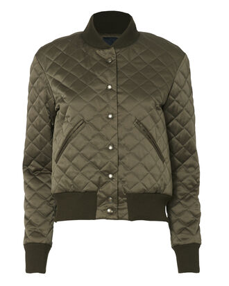 Quilted Army Green Bomber, OLIVE/ARMY, hi-res