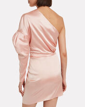 Twisted Satin One-Shoulder Dress, PINK, hi-res