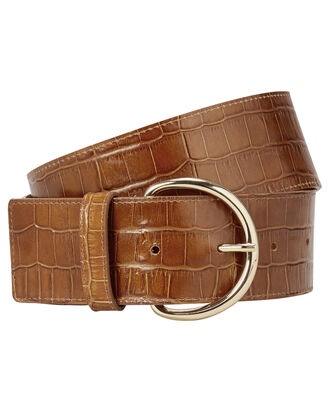 Croc Embossed Waist Belt, BROWN, hi-res