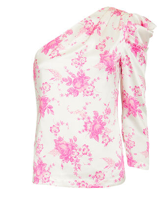 One Shoulder Floral Silk Top, PINK FLORAL, hi-res