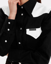 Western Denim Shirt, BLK/WHT, hi-res