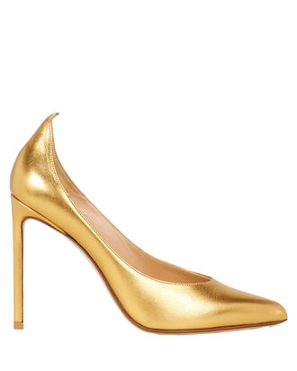 Metallic Leather Pumps, GOLD, hi-res