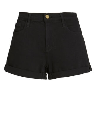 Roll Cuff Denim Shorts, BLACK, hi-res