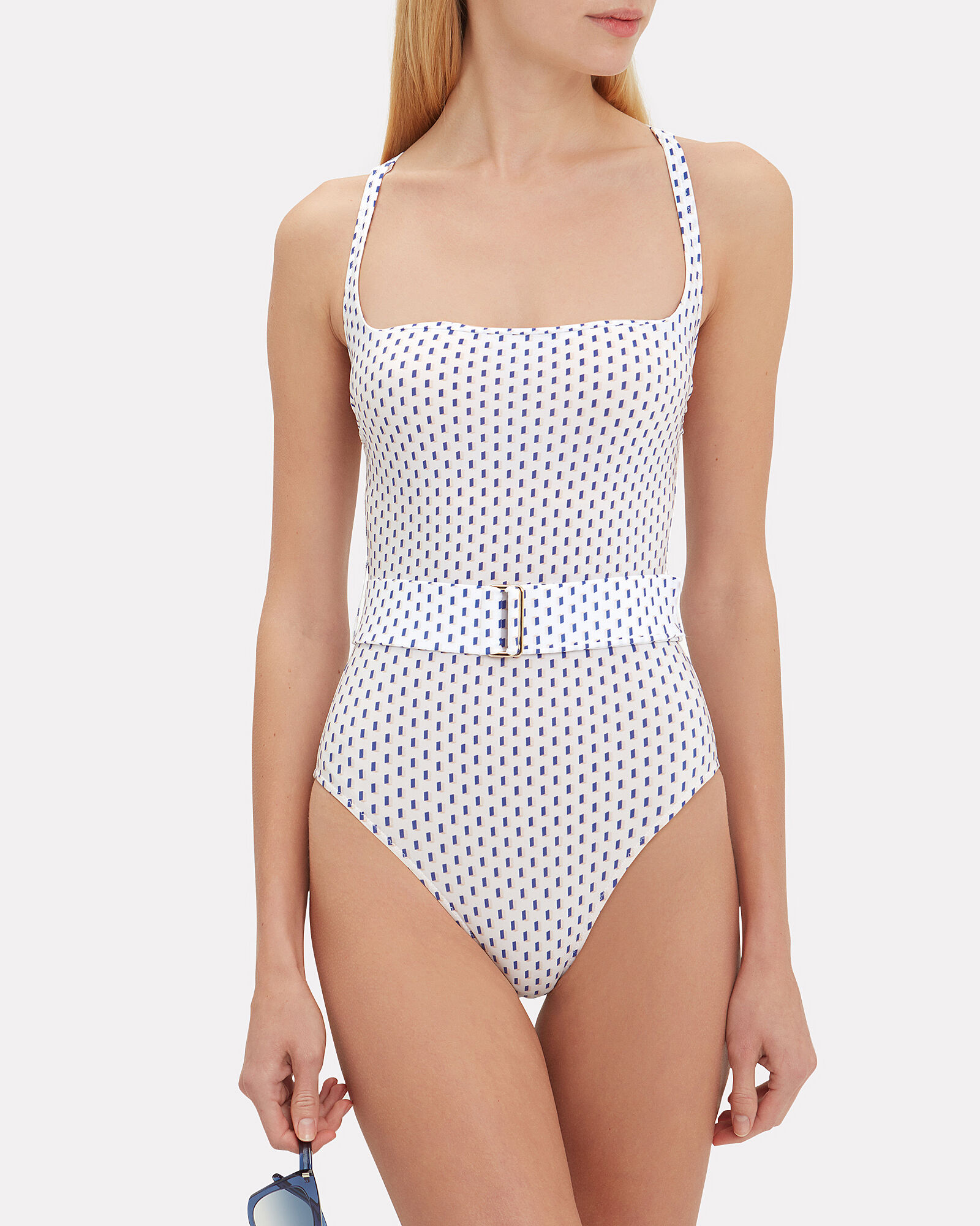 Cassandra One Piece Swimsuit, WHITE/BLUE, hi-res