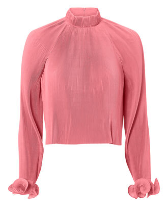 Pink Pleated Crop Top, PINK, hi-res