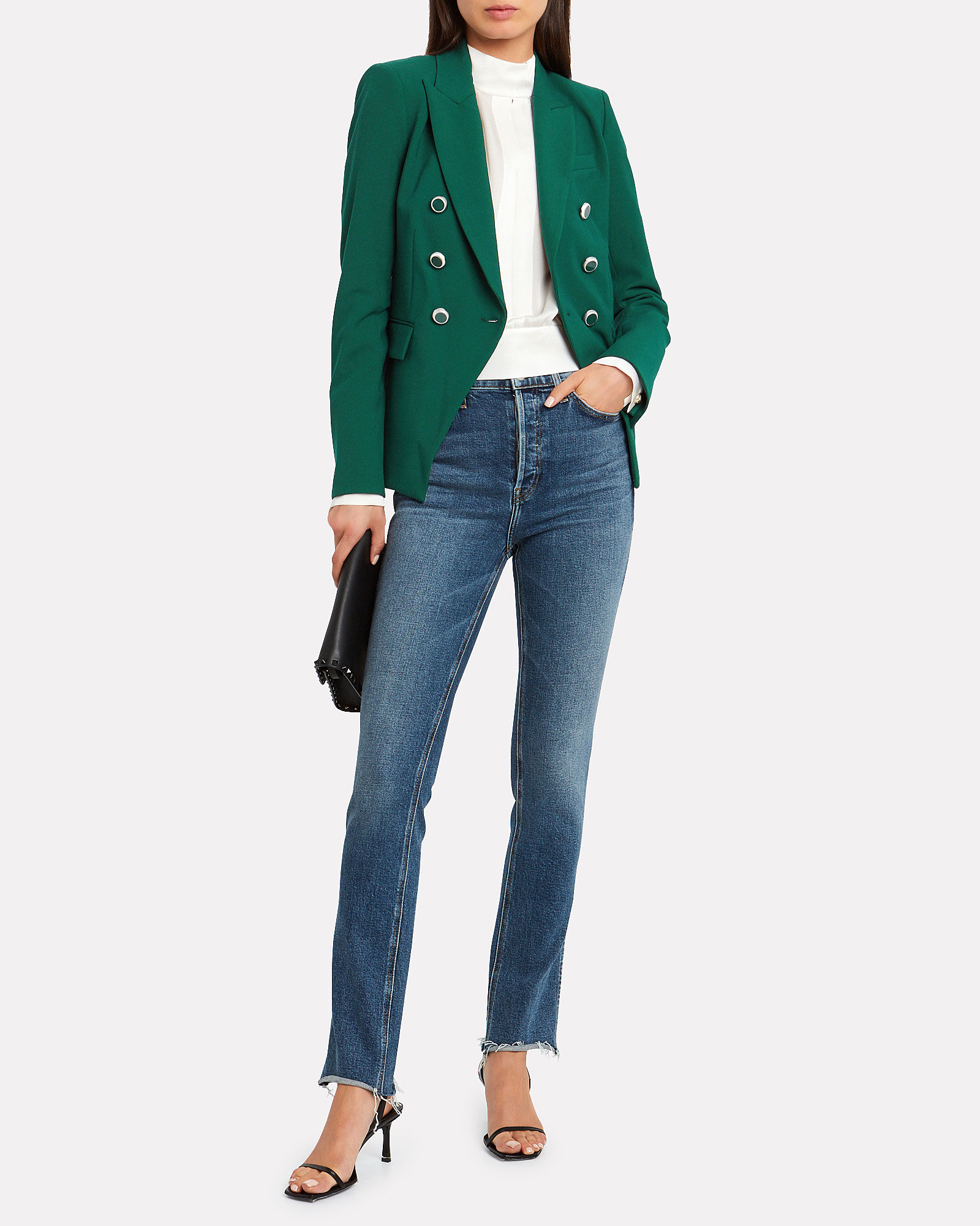 Miller Double Breasted Dickey Blazer, GREEN, hi-res