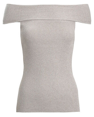 Off-The-Shoulder Lurex Top, SILVER, hi-res