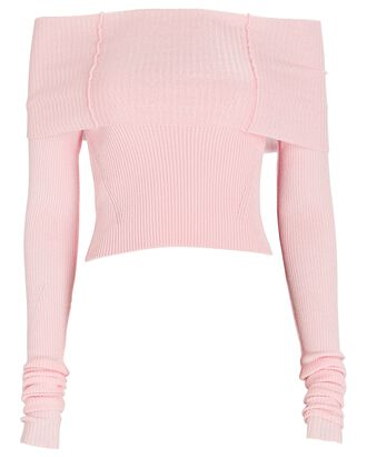 Anechka Rib Knit Off-The-Shoulder Top, PINK, hi-res