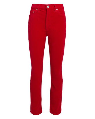 Red Velvet High-Rise Ankle Crop Pants, RED, hi-res