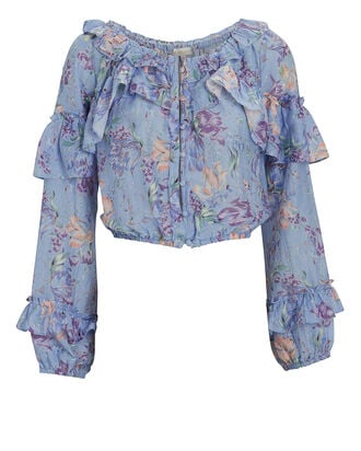 Ruffled Floral Silk-Cotton Blouse, , hi-res