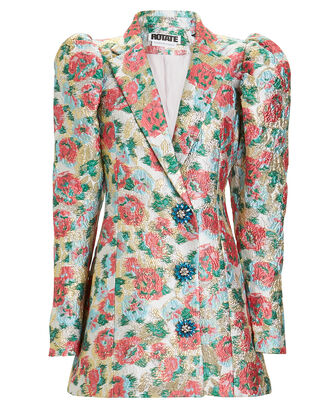 Carol Brocade Blazer Dress, WHITE/PINK FLORAL, hi-res