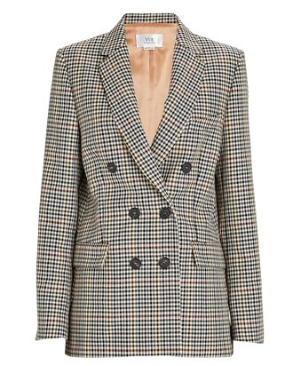 Plaid Double-Breasted Blazer, BEIGE, hi-res