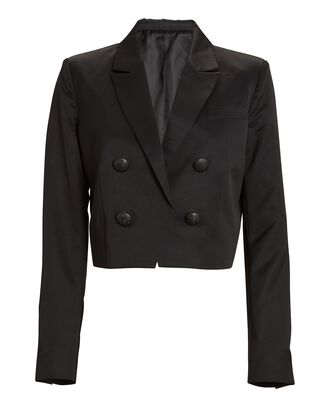 Clara Cropped Double-Breasted Blazer, BLACK, hi-res