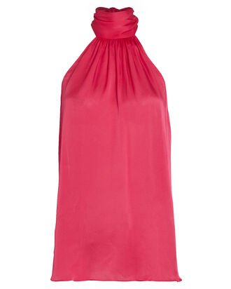 Gathered Sleeveless Silk Chiffon Top, PINK-DRK, hi-res