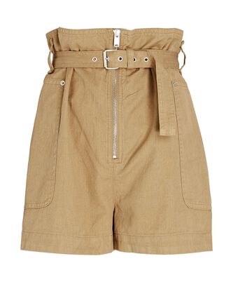 Parana Belted Cotton-Linen Shorts, BROWN, hi-res