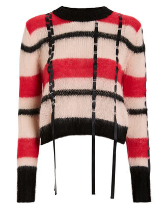 Ribbon Trim Mohair Sweater, PINK/RED STRIPE, hi-res