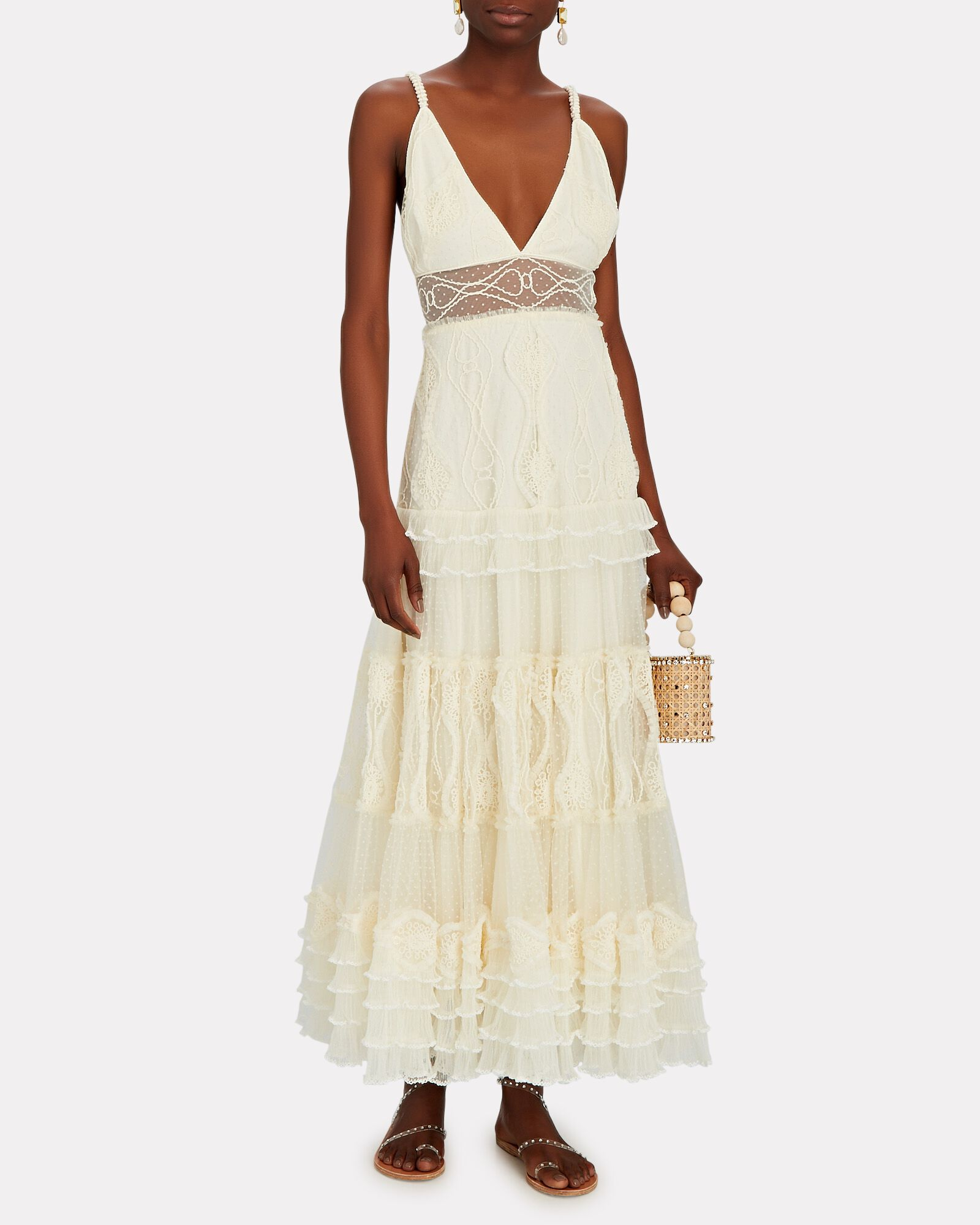 Arabella Embroidered Lace Maxi Dress, IVORY, hi-res