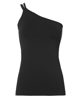 One Shoulder Seamless Jersey Tank, BLACK, hi-res