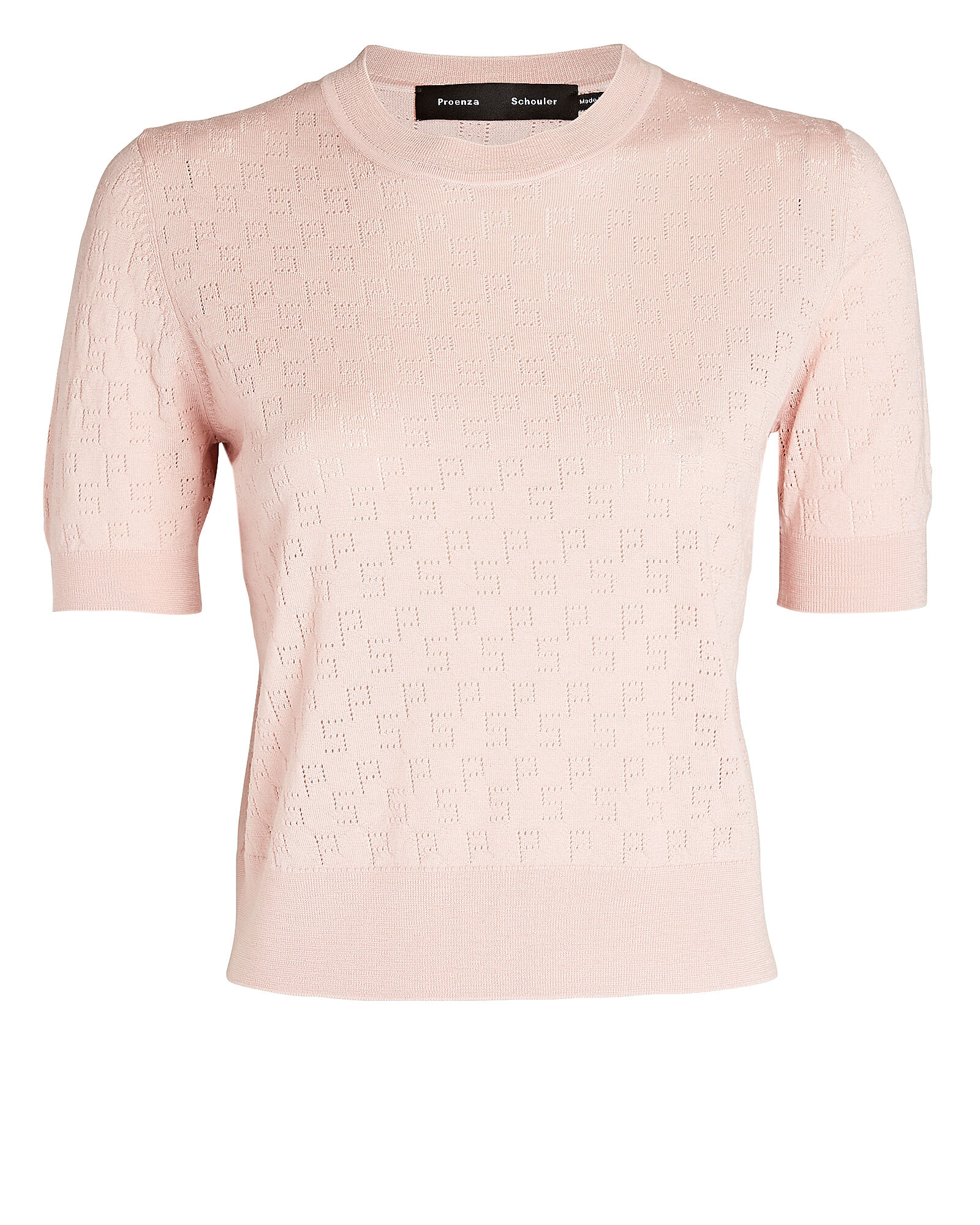 Pointelle Logo Knit Top, BLUSH, hi-res