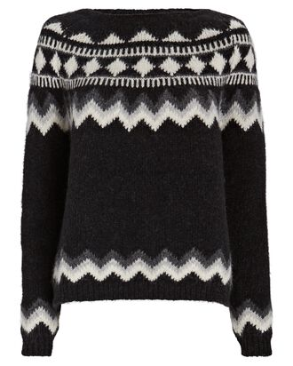 Adene Fair Isle Sweater, BLACK, hi-res