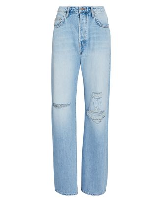 Sammy Distressed Straight-Leg Jeans, DENIM-LT, hi-res