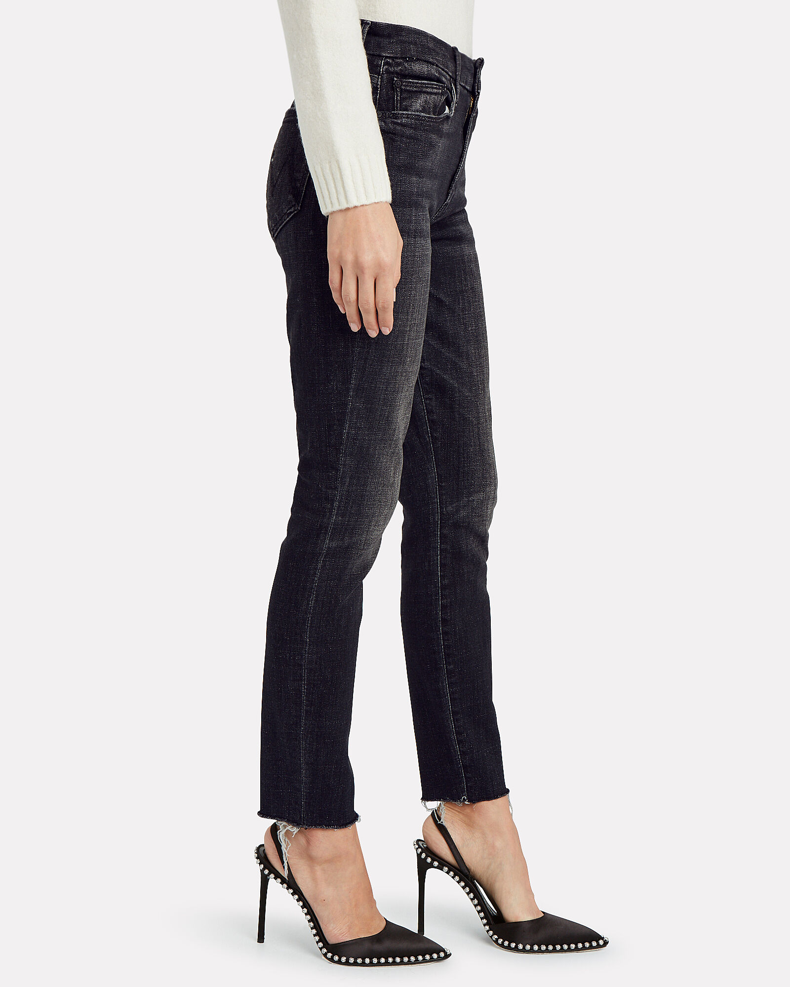The Looker Ankle Fray Skinny Jeans, BLACK, hi-res