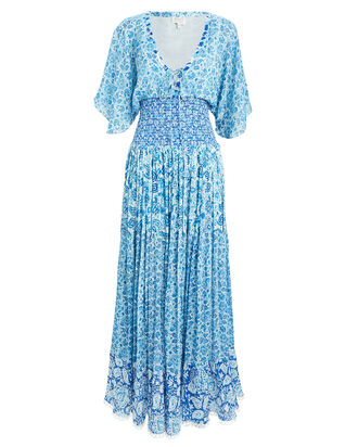 Floral Maxi Dress, BLUE-MED, hi-res