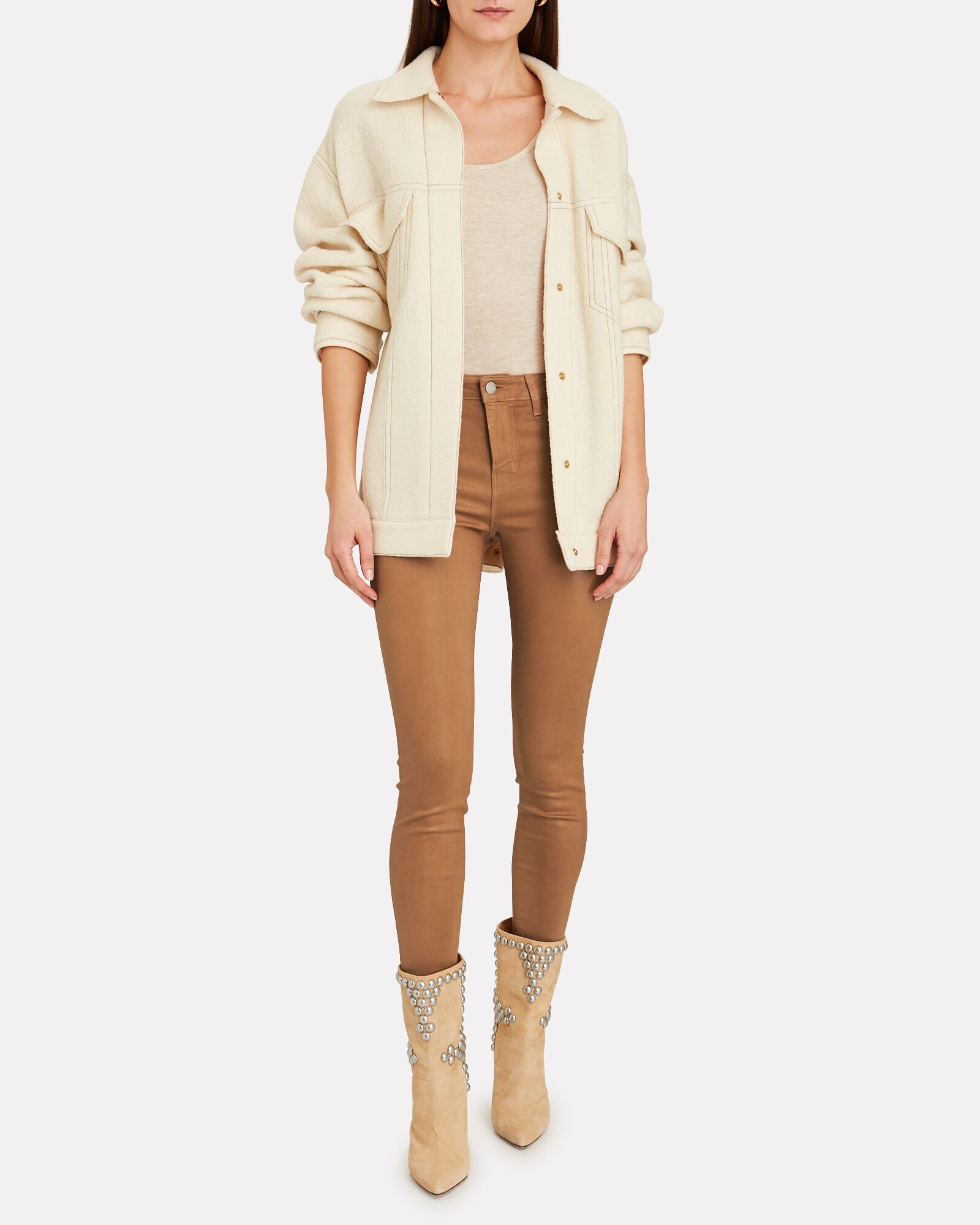 Margot Coated Skinny Jeans, BEIGE, hi-res