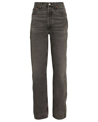 90s High-Rise Loose Straight-Leg Jeans, GREY, hi-res