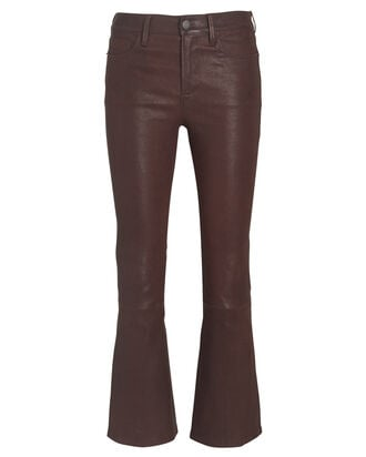 Le Crop Mini Boot Leather Pants, BROWN, hi-res