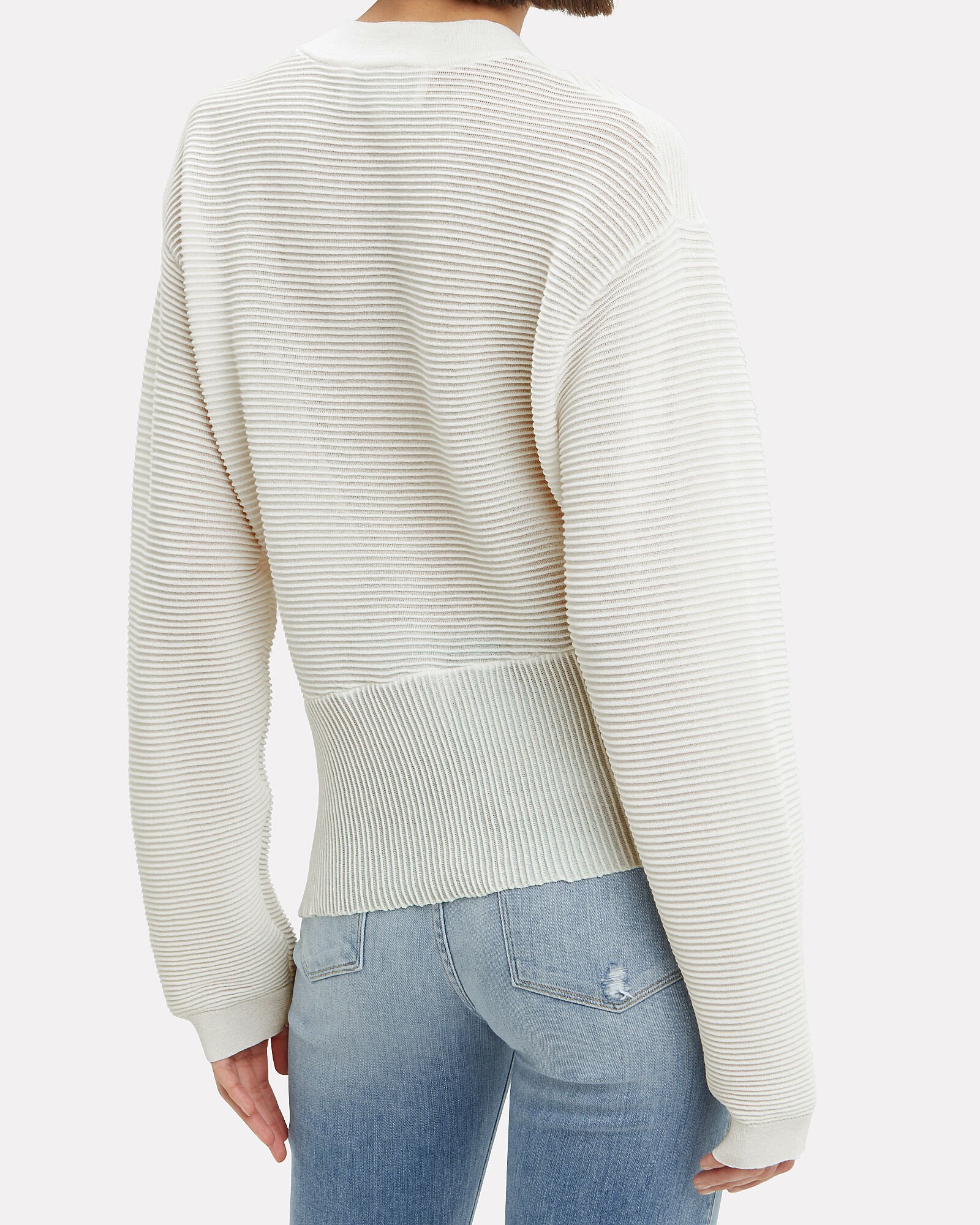 Side Twist Sweater, WHITE, hi-res
