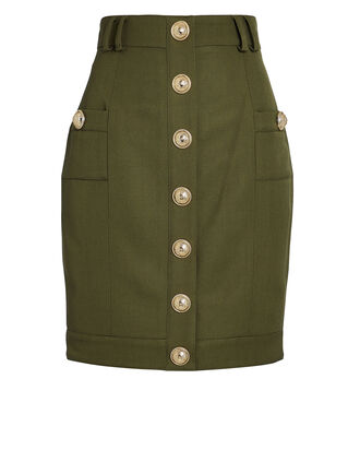 High-Waist Grain de Poudre Mini Skirt, LODEN, hi-res