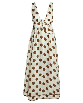 Empire Polka Dot Tie-Front Dress, IVORY/BROWN, hi-res