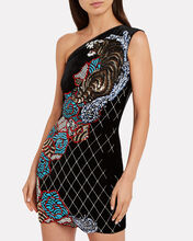 One-Shoulder Velvet Tiger Dress, BLACK, hi-res