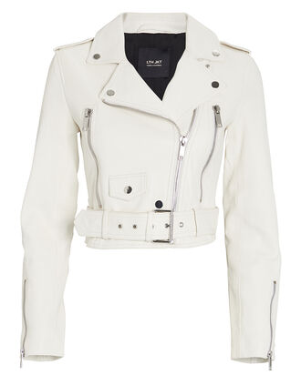 Mya Cropped Leather Moto Jacket, WHITE, hi-res