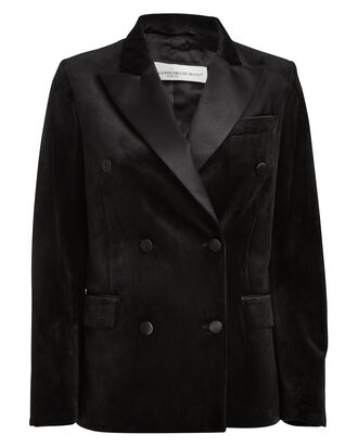 Misam Velvet Double Breasted Blazer, BLACK, hi-res