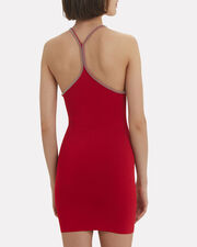 Ball Chain Halter Dress, RED, hi-res