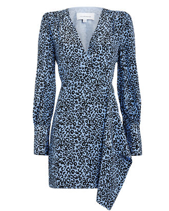 Silk Leopard Wrap Dress, BLUE/LEOPARD, hi-res
