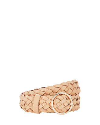 Tessa Braided Leather Buckle Belt, BROWN, hi-res